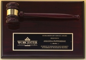 Rosewood piano-finish gavel plaque
