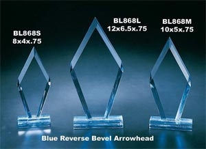 Blue Reverse Bevel Arrowhead Award on base