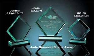 Jade Diamond Shape Award on base