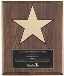 Piano Finish Plaque with Gold Aluminum Star
