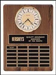 Walnut Perpetual Plaque with Solid Brass Clock Bezel and (24) Individual Plates