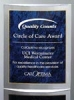 3D curved acrylic award with blue marble engraving area