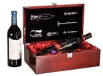Rosewood Piano Finish Dual Wine Bottle Presentation Box with Tools