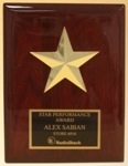 Rosewood finish board with gold tone star casting